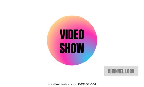 black type video show rounded shape video cover thumbnails vector.