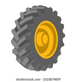Black tyre yellow wheel object construction equipment of heavy machines road icons ,Vector illustration.