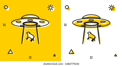 Black UFO abducts cow icon isolated on yellow and white background. Flying saucer. Alien space ship. Futuristic unknown flying object. Random dynamic shapes. Vector Illustration