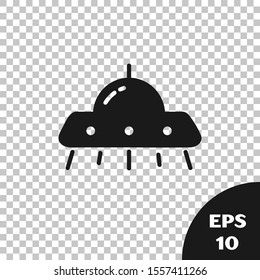 Black UFO flying spaceship icon isolated on transparent background. Flying saucer. Alien space ship. Futuristic unknown flying object.  Vector Illustration