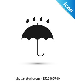 Black Umbrella and rain drops icon isolated on white background. Waterproof icon. Protection, safety, security concept. Water resistant symbol.  Vector Illustration