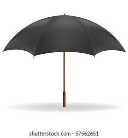 A black umbrella. Vector.