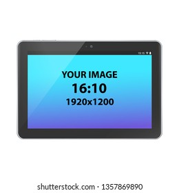 Black unbranded horizontally oriented 16:9 tablet, front view, photorealistic vector mockup.