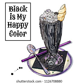 Black unicorn ice cream milk shake with hand written Black is my happy color lettering slogan. Trendy pastel goth fantasy dessert. Halloween treat. Cafe, coffee shop symbol. Inscription in frame.