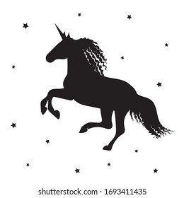 Black unicorn on a white background with a stars.