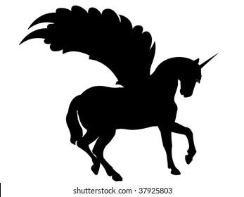 black unicorn vector silhouette