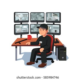 Black uniform watchman or guard man sitting at security room monitoring video on many computer screens. CCTV or surveillance system concept. Flat style modern vector illustration isolated on white.