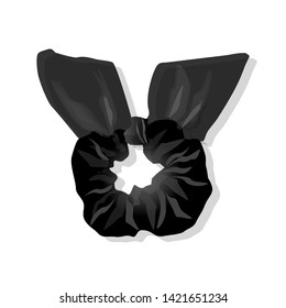 Black Unisex Scrunchy Vector isolated on white. Modern Fashion Scarf.