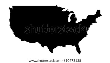 Usa Map Black.Black United States Map Shape Stock Vector Royalty Free 610973138