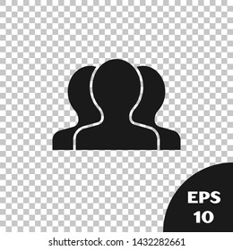 Black Users group icon isolated on transparent background. Group of people icon. Business avatar symbol - users profile icon.  Vector Illustration