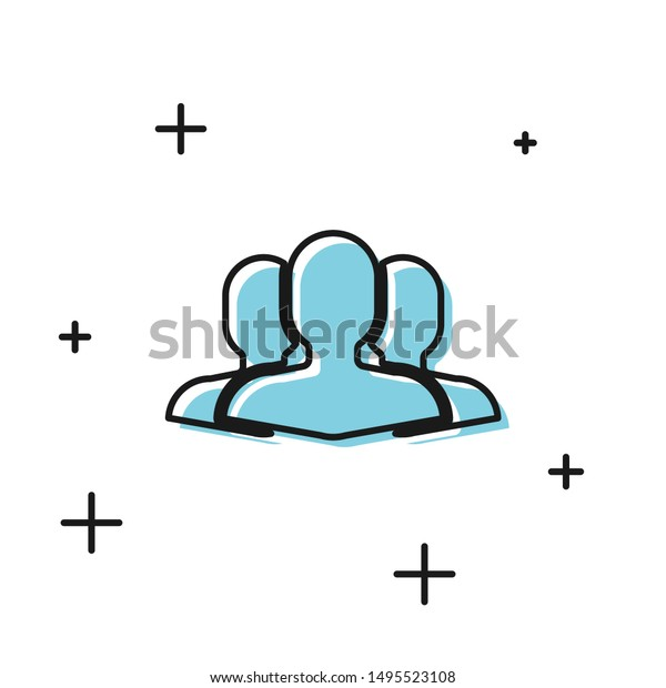 Black Users group icon isolated on white background. Group of people icon. Business avatar symbol users profile icon.  Vector Illustration