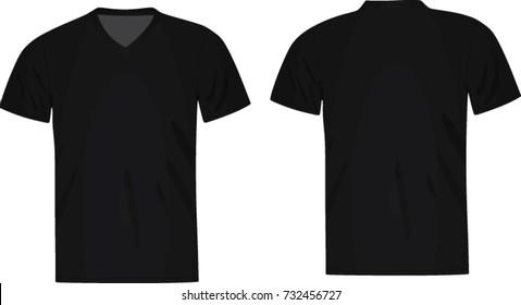 bc797780 Black Vector Vneck Tshirt Template Mens Stock Vector (Royalty Free ...