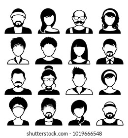 Black vector avatar icons male and female faces