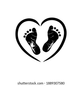 Black vector baby footprints silhouette print design. Footsteps in outline heart frame shape. Baby shower decor. New born sign icon. It's a girl,boy.Abstract love symbol.Vinyl wall sticker decal. Care