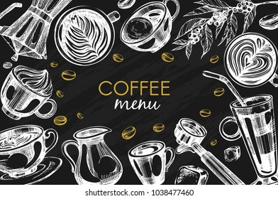 Black vector background with coffee menu ( latte,  cappuccino, glace, raf, espresso, americano, moccasino)