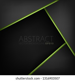 Black vector background overlap layer with green line geometric and triangle element