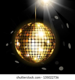 Black vector background with shining disco ball