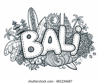 Black vector Bali sign on hand drawn doodle style symbols of Bali island: temples, flowers, palms, waves and surfing boards