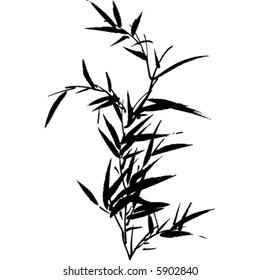 A black vector bamboo silhouette.