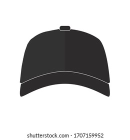 black vector baseball cap flat icon symbol