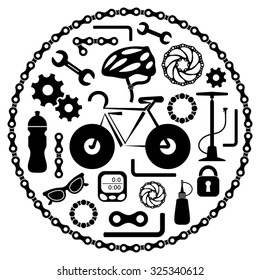 Black vector bike tools equipment and accessories icons