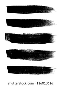 Black vector brush strokes collection