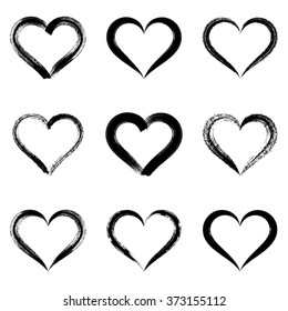 Black vector brush strokes hearts outlines valentine illustrations