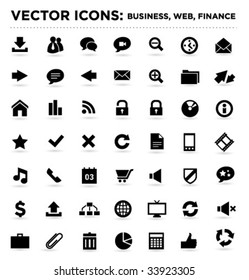 black vector business web finance icons 04