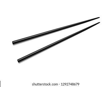Black vector chopsticks for rice isolated on a white background