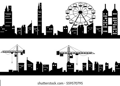 Black vector cityscapes silhouettes.