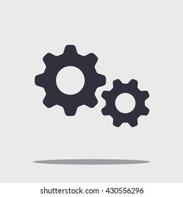 Black vector cog with shadow isolated on white, gear illustration, wheel concept.
