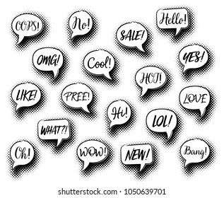 Black vector comic speech bubbles collection chat expressions