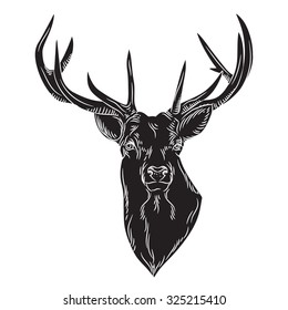 Black vector deer head illustration