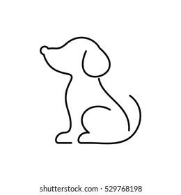 Black vector dog thin line icon