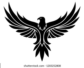 Black vector eagle emblem on the white background.