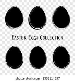 Black vector easter egg silhouettes brush stroke style