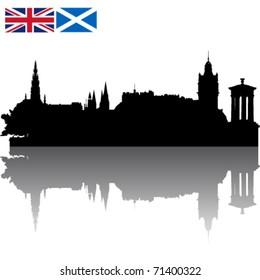 Black vector Edinburgh silhouette skyline with Union Jack and Flag of Scotland