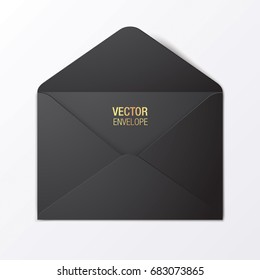 Black vector envelope template. Black opened envelope lying on a white background. Realistic mockup.