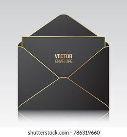 Black vector envelope template. Black opened envelope with golden elements standing on a white background. Realistic mockup.