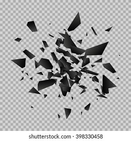Black vector explosion on a transparent background.