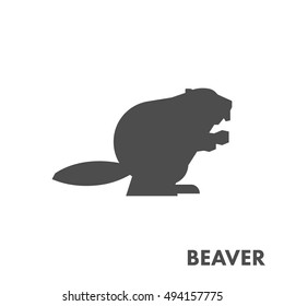 Black vector figure of beaver. Vector forest animal for web and design.