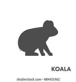 Black vector figure of koala. Vector outline australian animal for web and design.