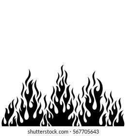 Black vector fire flame design element