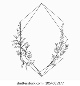 Black Vector Floristic Frame with Geometric Linear Design. Outlined Hand Drawn Floral Frame Border. Geometric Shapes decorated with flowers, branches and plants