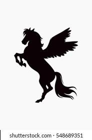 Black vector flying horse