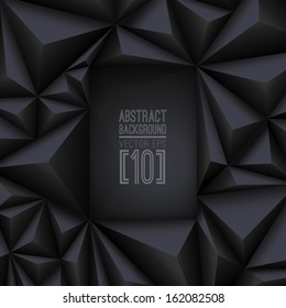 Black vector geometric background. Can be used in cover design, book design, website background, CD cover, advertising.