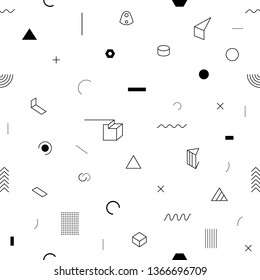 Black vector geometric seamless pattern isolated on white