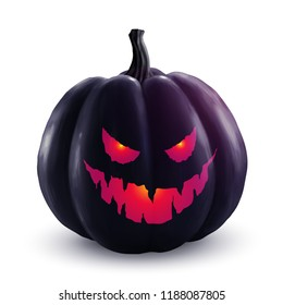 Black vector halloween pumpkin with red glowing eyes and smile. Holiday symbol isolated on white background.