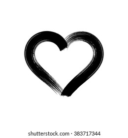 Black vector heart icon brush strokes design isolated