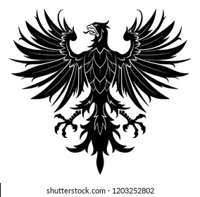 Black vector heraldic eagle on the white background.
